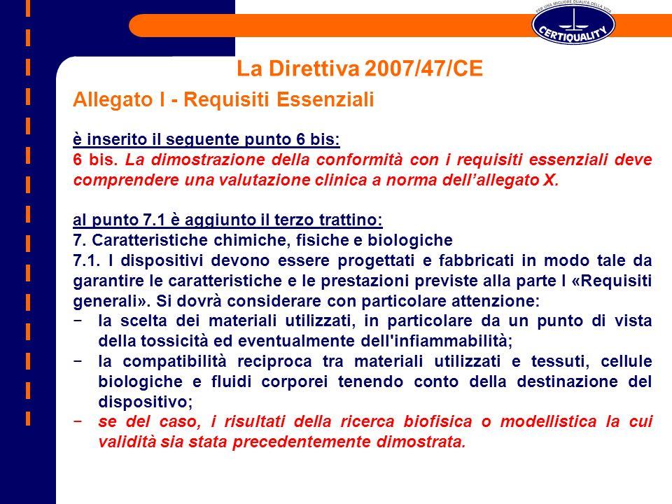 La Direttiva 2007/47/CE Allegato I - Requisiti Essenziali è inserito il seguente punto 6 bis: 6 bis. La dimostrazione della conformità con i requisiti