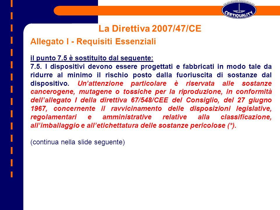 La Direttiva 2007/47/CE Allegato I - Requisiti Essenziali il punto 7.5 è sostituito dal seguente: 7.5. I dispositivi devono essere progettati e fabbri