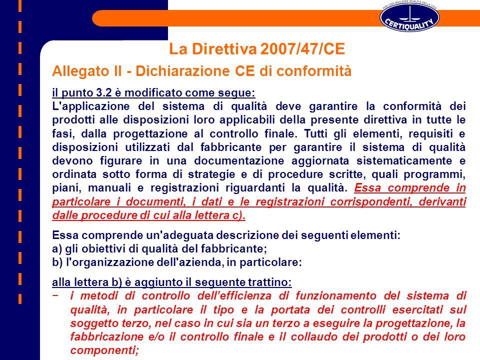La Direttiva 2007/47/CE Allegato II - Dichiarazione CE di conformità il punto 3.2 è modificato come segue: L'applicazione del sistema di qualità deve
