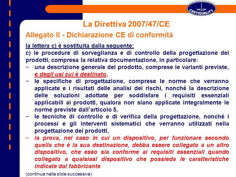 La Direttiva 2007/47/CE Allegato II - Dichiarazione CE di conformità la lettera c) è sostituita dalla seguente: c) le procedure di sorveglianza e di c