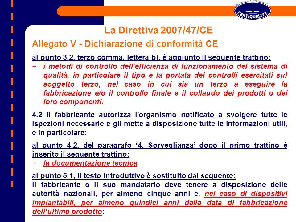 La Direttiva 2007/47/CE Allegato V - Dichiarazione di conformità CE al punto 3.2, terzo comma, lettera b), è aggiunto il seguente trattino: i metodi d