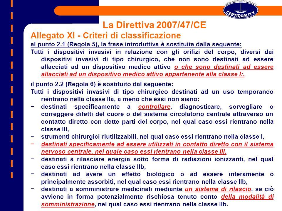 La Direttiva 2007/47/CE Allegato XI - Criteri di classificazione al punto 2.1 (Regola 5), la frase introduttiva è sostituita dalla seguente: Tutti i d