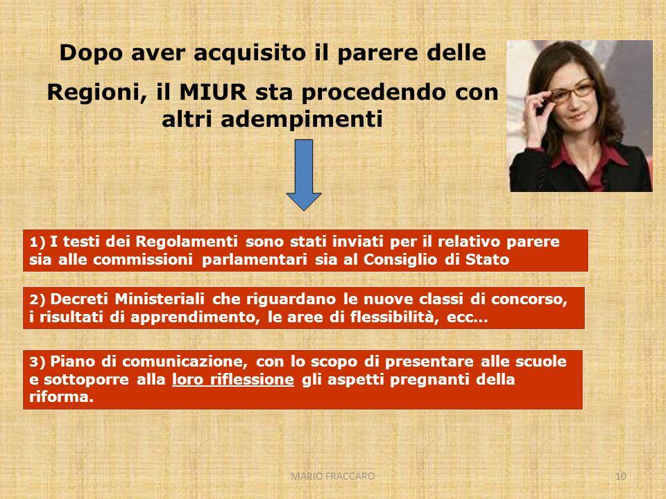 MARIO FRACCARO10 Dopo aver acquisito il parere delle Regioni, il MIUR sta procedendo con altri adempimenti 1) I testi dei Regolamenti sono stati invia