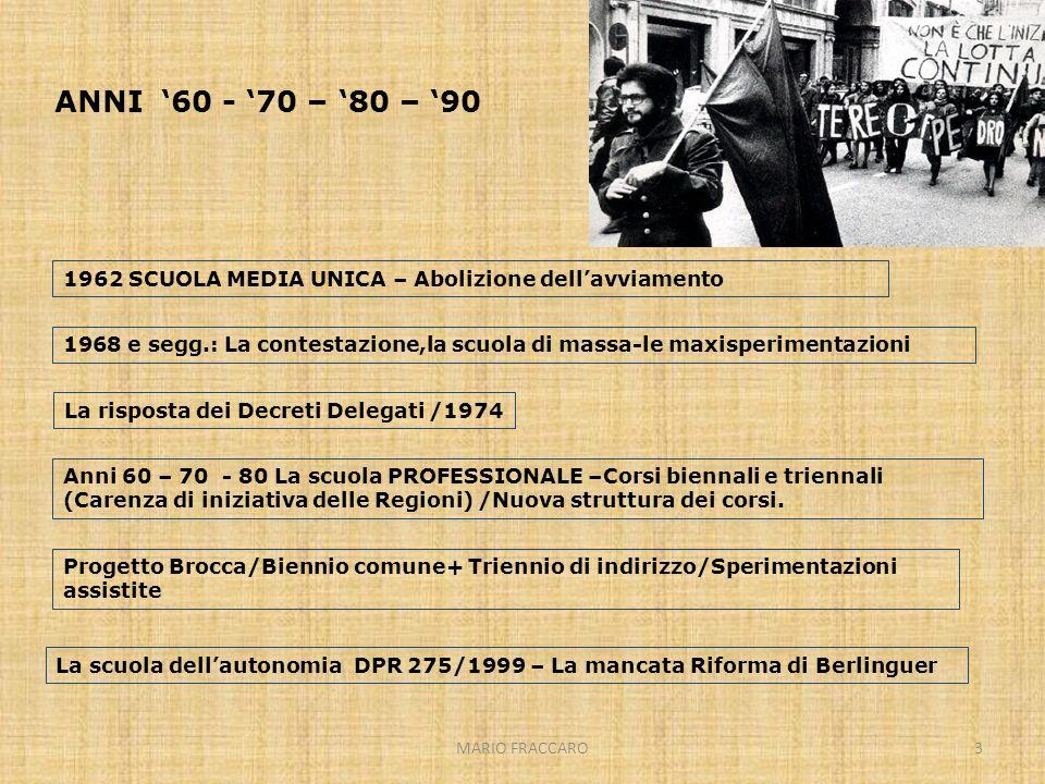MARIO FRACCARO3 ANNI 60 - 70 – 80 – 90 1962 SCUOLA MEDIA UNICA – Abolizione dellavviamento Anni 60 – 70 - 80 La scuola PROFESSIONALE –Corsi biennali e