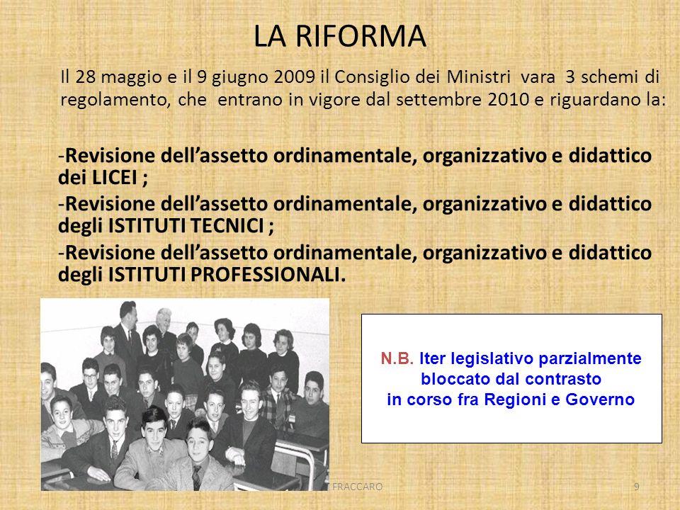 MARIO FRACCARO9 -Revisione dellassetto ordinamentale, organizzativo e didattico degli ISTITUTI TECNICI ; -Revisione dellassetto ordinamentale, organiz