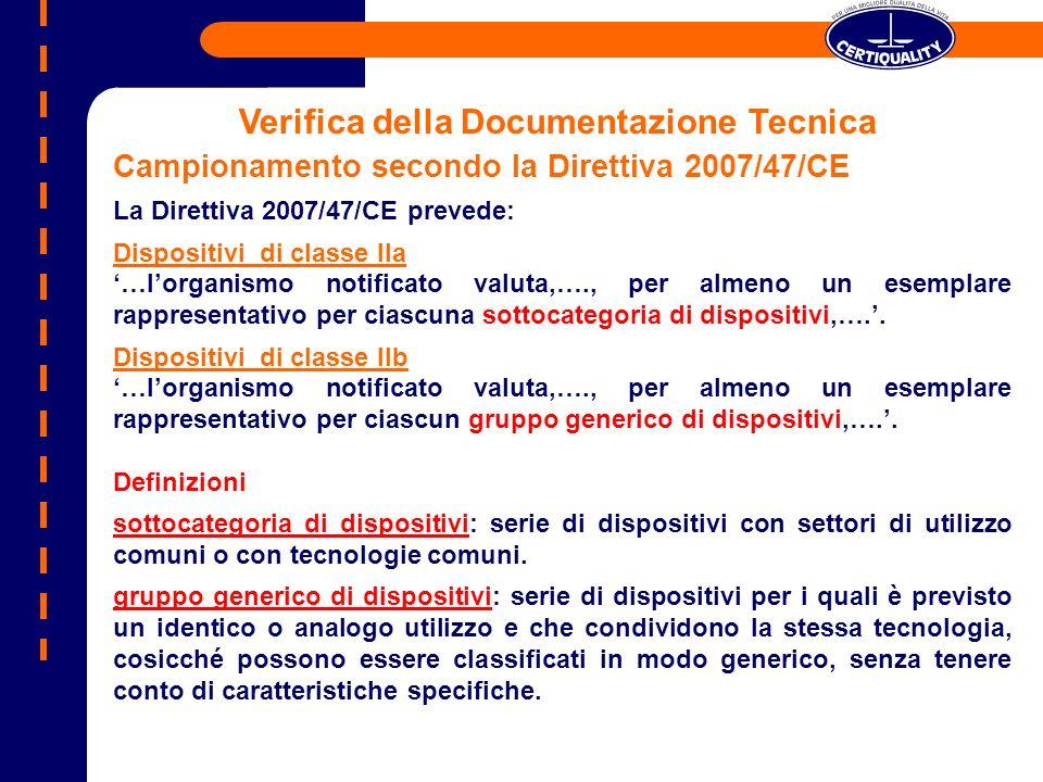 Campionamento secondo la Direttiva 2007/47/CE La Direttiva 2007/47/CE prevede: Dispositivi di classe IIa …lorganismo notificato valuta,…., per almeno