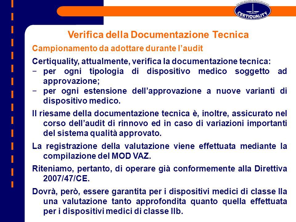 Campionamento da adottare durante laudit Certiquality, attualmente, verifica la documentazione tecnica: per ogni tipologia di dispositivo medico sogge