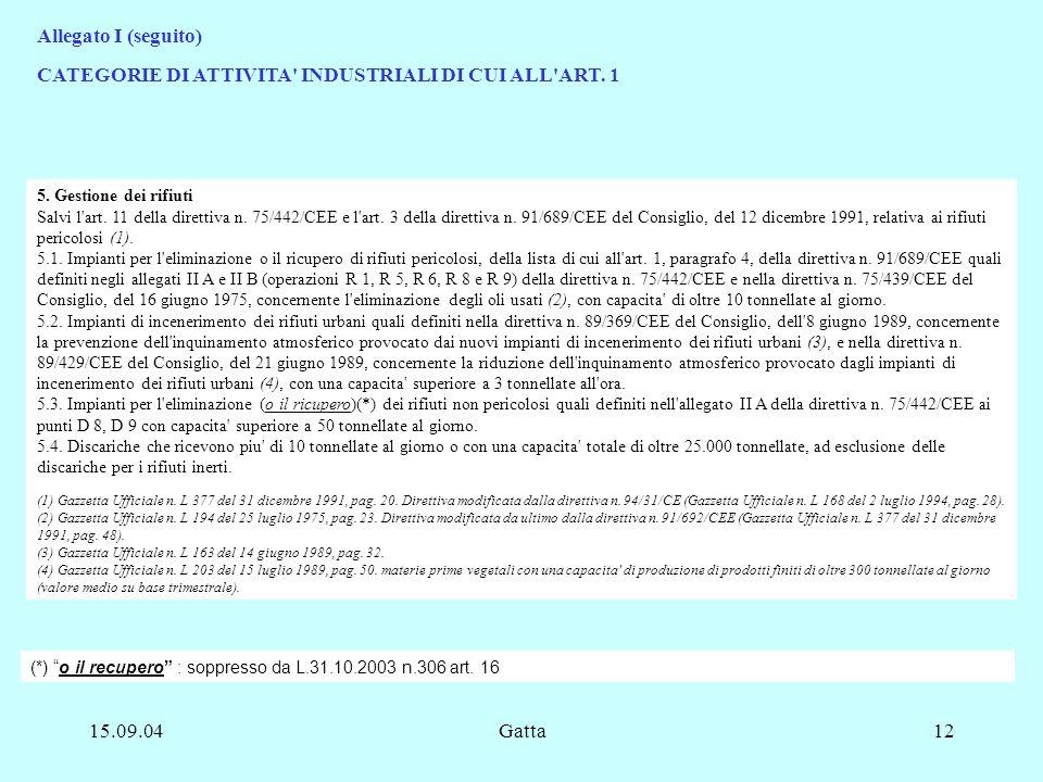 15.09.04Gatta12 5. Gestione dei rifiuti Salvi l'art. 11 della direttiva n. 75/442/CEE e l'art. 3 della direttiva n. 91/689/CEE del Consiglio, del 12 d