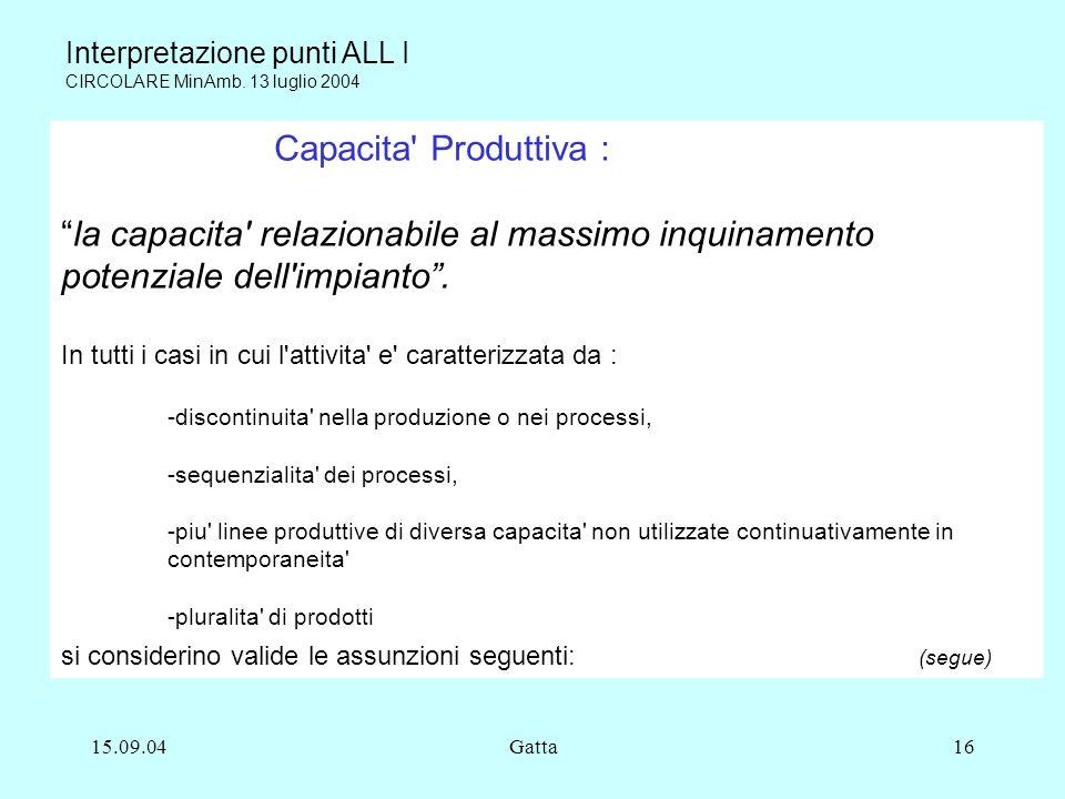 15.09.04Gatta16 Capacita' Produttiva : la capacita' relazionabile al massimo inquinamento potenziale dell'impianto. In tutti i casi in cui l'attivita'