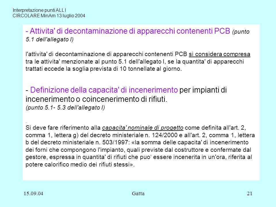 15.09.04Gatta21 - Attivita' di decontaminazione di apparecchi contenenti PCB (punto 5.1 dell'allegato I) l'attivita' di decontaminazione di apparecchi