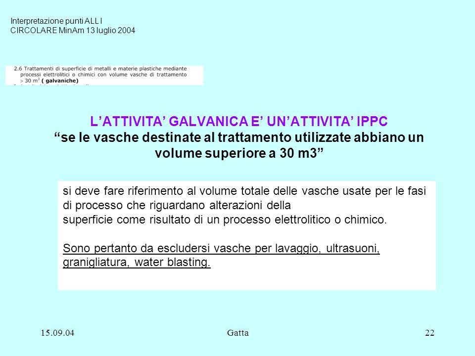 15.09.04Gatta22 LATTIVITA GALVANICA E UNATTIVITA IPPC se le vasche destinate al trattamento utilizzate abbiano un volume superiore a 30 m3 si deve far
