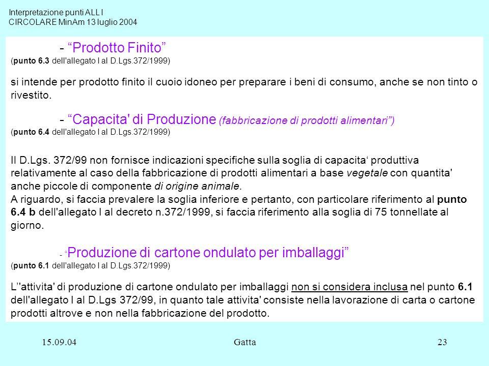 15.09.04Gatta23 - Prodotto Finito (punto 6.3 dell'allegato I al D.Lgs.372/1999) si intende per prodotto finito il cuoio idoneo per preparare i beni di