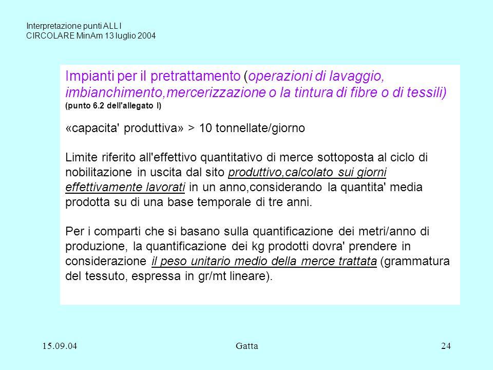 15.09.04Gatta24 Impianti per il pretrattamento (operazioni di lavaggio, imbianchimento,mercerizzazione o la tintura di fibre o di tessili) (punto 6.2