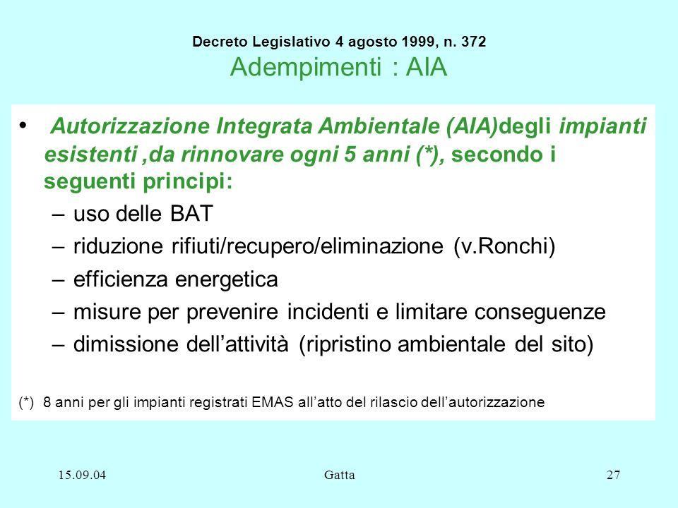 15.09.04Gatta27 Decreto Legislativo 4 agosto 1999, n. 372 Adempimenti : AIA Autorizzazione Integrata Ambientale (AIA)degli impianti esistenti,da rinno