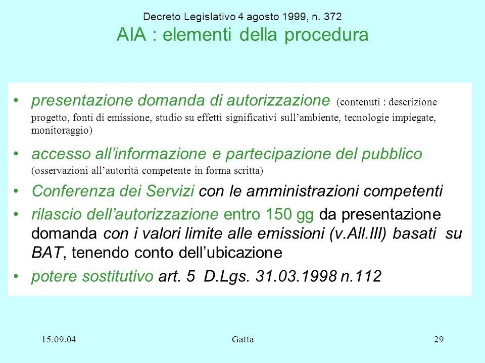 15.09.04Gatta29 Decreto Legislativo 4 agosto 1999, n. 372 AIA : elementi della procedura presentazione domanda di autorizzazione (contenuti : descrizi
