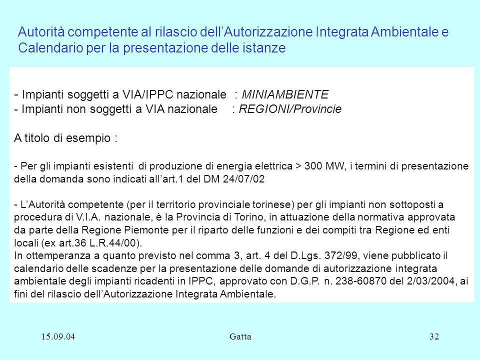 15.09.04Gatta32 - Impianti soggetti a VIA/IPPC nazionale : MINIAMBIENTE - Impianti non soggetti a VIA nazionale : REGIONI/Provincie A titolo di esempi