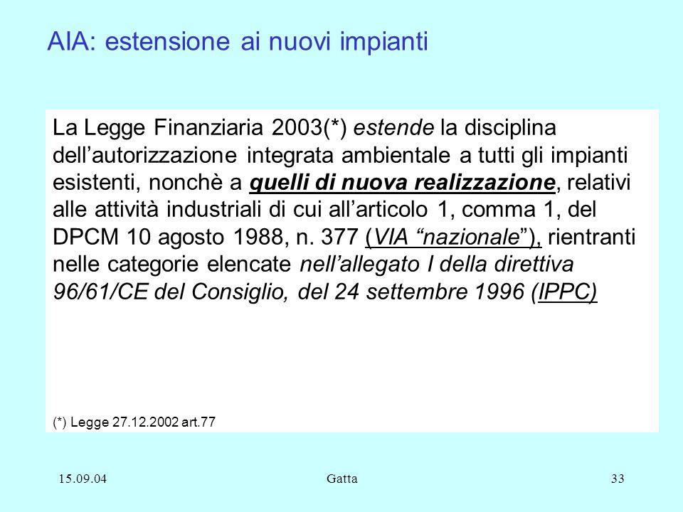 15.09.04Gatta33 La Legge Finanziaria 2003(*) estende la disciplina dellautorizzazione integrata ambientale a tutti gli impianti esistenti, nonchè a qu
