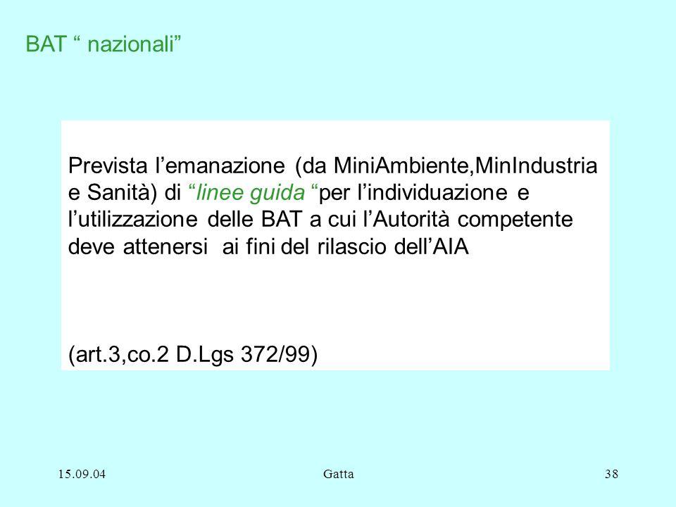 15.09.04Gatta38 BAT nazionali Prevista lemanazione (da MiniAmbiente,MinIndustria e Sanità) di linee guida per lindividuazione e lutilizzazione delle B