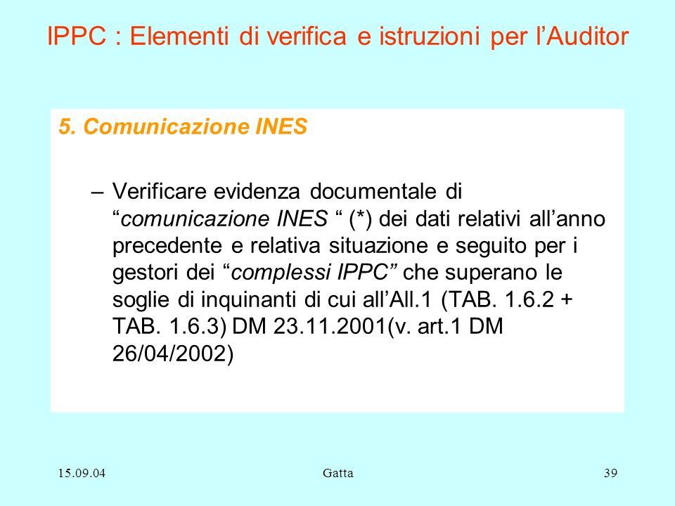 15.09.04Gatta39 IPPC : Elementi di verifica e istruzioni per lAuditor 5. Comunicazione INES –Verificare evidenza documentale dicomunicazione INES (*)
