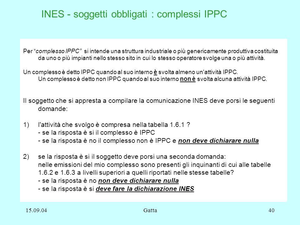 15.09.04Gatta40 Per complesso IPPC si intende una struttura industriale o più genericamente produttiva costituita da uno o più impianti nello stesso s