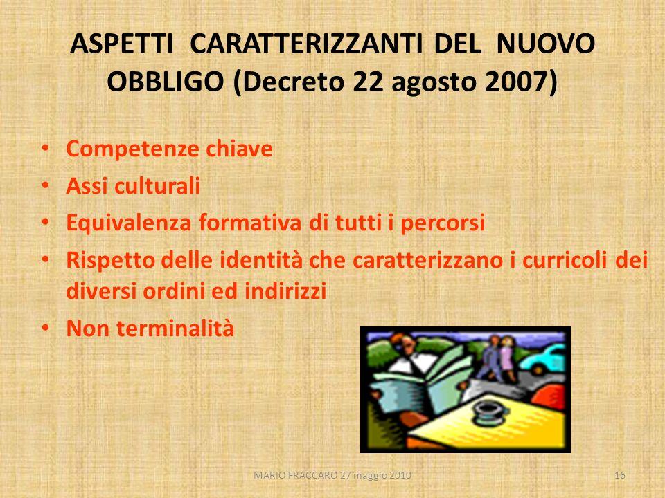 MARIO FRACCARO 27 maggio 201016 ASPETTI CARATTERIZZANTI DEL NUOVO OBBLIGO (Decreto 22 agosto 2007) Competenze chiave Assi culturali Equivalenza format