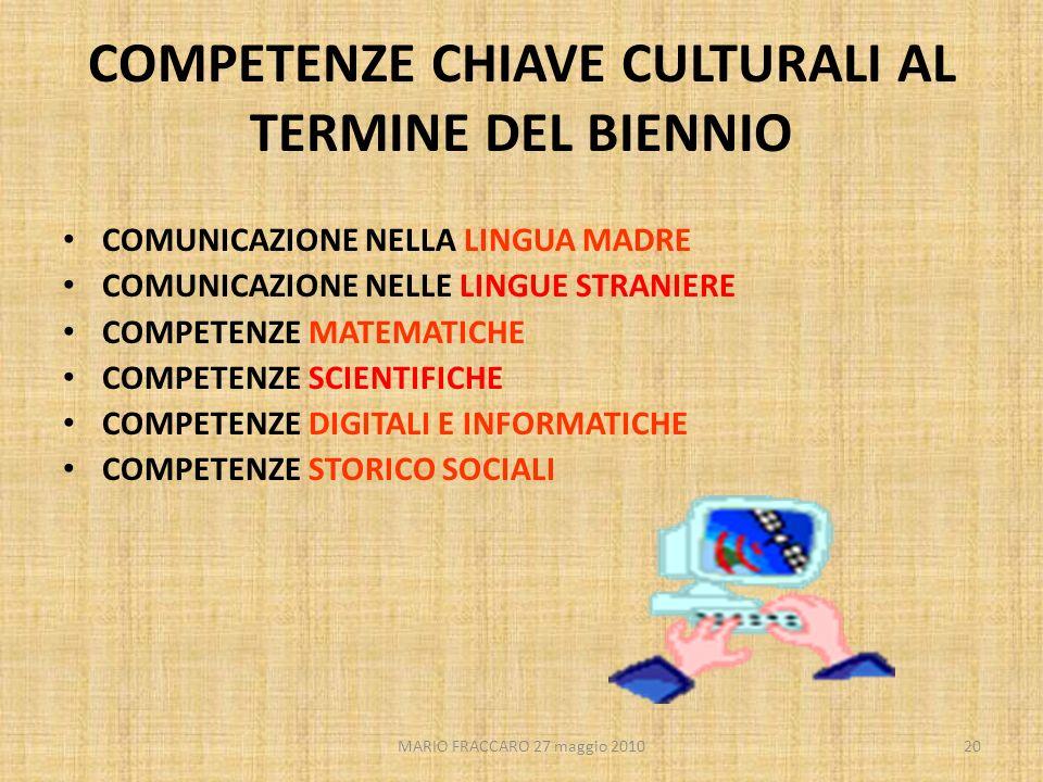 MARIO FRACCARO 27 maggio 201020 COMPETENZE CHIAVE CULTURALI AL TERMINE DEL BIENNIO COMUNICAZIONE NELLA LINGUA MADRE COMUNICAZIONE NELLE LINGUE STRANIE