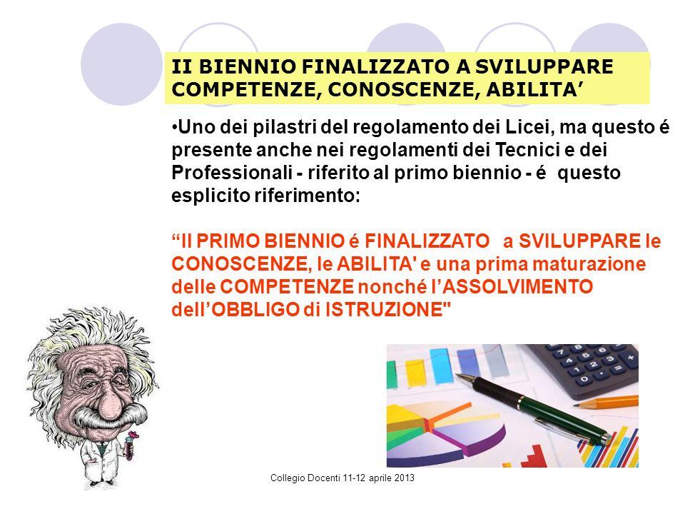 Collegio Docenti 11-12 aprile 2013 Uno dei pilastri del regolamento dei Licei, ma questo é presente anche nei regolamenti dei Tecnici e dei Professionali - riferito al primo biennio - é questo esplicito riferimento: Il PRIMO BIENNIO é FINALIZZATO a SVILUPPARE le CONOSCENZE, le ABILITA e una prima maturazione delle COMPETENZE nonché lASSOLVIMENTO dellOBBLIGO di ISTRUZIONE II BIENNIO FINALIZZATO A SVILUPPARE COMPETENZE, CONOSCENZE, ABILITA