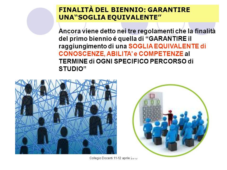 Collegio Docenti 11-12 aprile 2013 Ancora viene detto nei tre regolamenti che la finalità del primo biennio é quella di GARANTIRE il raggiungimento di una SOGLIA EQUIVALENTE di CONOSCENZE, ABILITA e COMPETENZE al TERMINE di OGNI SPECIFICO PERCORSO di STUDIO FINALITÀ DEL BIENNIO: GARANTIRE UNASOGLIA EQUIVALENTE