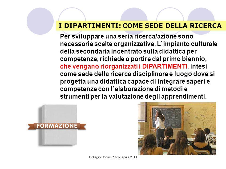 Collegio Docenti 11-12 aprile 2013 Per sviluppare una seria ricerca/azione sono necessarie scelte organizzative.