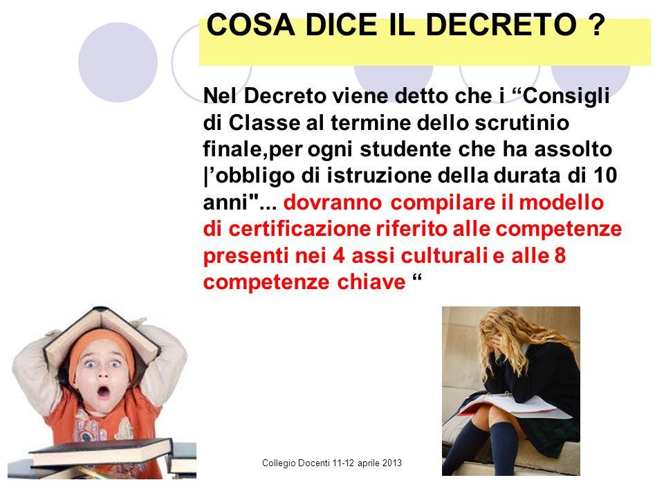 Collegio Docenti 11-12 aprile 2013 COSA DICE IL DECRETO .