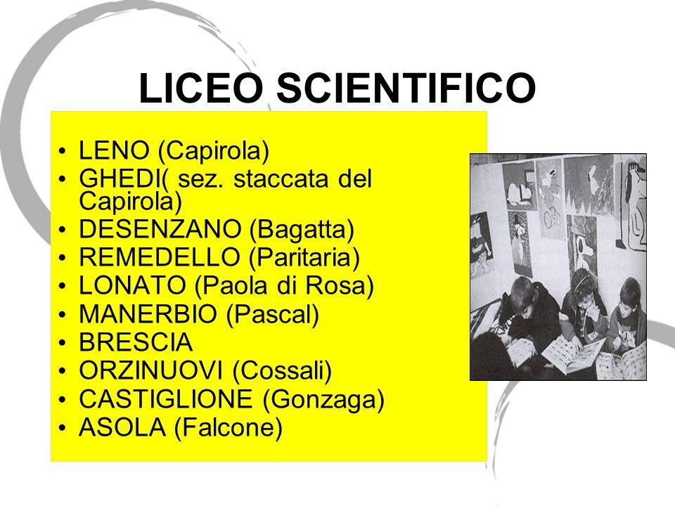 LICEO SCIENTIFICO LENO (Capirola) GHEDI( sez. staccata del Capirola) DESENZANO (Bagatta) REMEDELLO (Paritaria) LONATO (Paola di Rosa) MANERBIO (Pascal