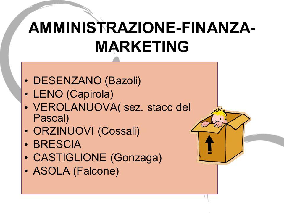 AMMINISTRAZIONE-FINANZA- MARKETING DESENZANO (Bazoli) LENO (Capirola) VEROLANUOVA( sez. stacc del Pascal) ORZINUOVI (Cossali) BRESCIA CASTIGLIONE (Gon