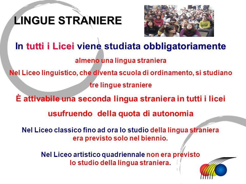 tutti i Liceiobbligatoriamente In tutti i Licei viene studiata obbligatoriamente almeno una lingua straniera Nel Liceo linguistico, che diventa scuola
