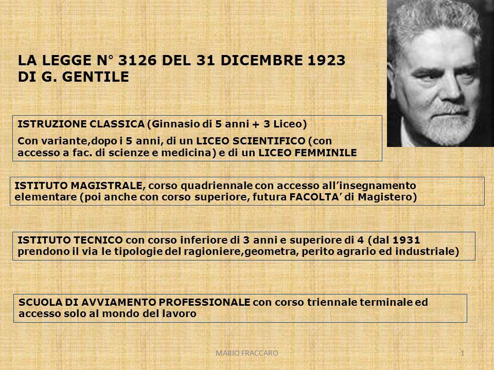 MARIO FRACCARO1 1 LA LEGGE N° 3126 DEL 31 DICEMBRE 1923 DI G. GENTILE ISTRUZIONE CLASSICA (Ginnasio di 5 anni + 3 Liceo) Con variante,dopo i 5 anni, d