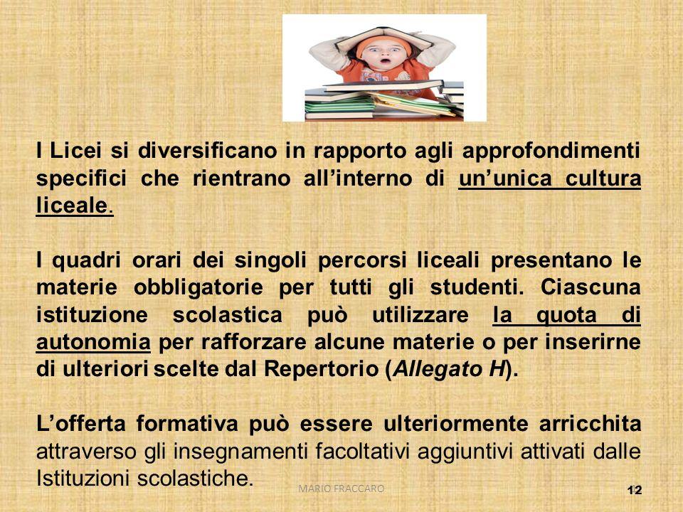 MARIO FRACCARO12 I Licei si diversificano in rapporto agli approfondimenti specifici che rientrano allinterno di ununica cultura liceale. I quadri ora