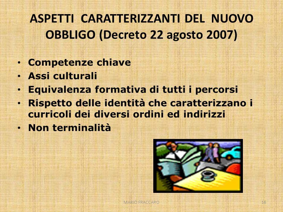 MARIO FRACCARO16 ASPETTI CARATTERIZZANTI DEL NUOVO OBBLIGO (Decreto 22 agosto 2007) Competenze chiave Assi culturali Equivalenza formativa di tutti i
