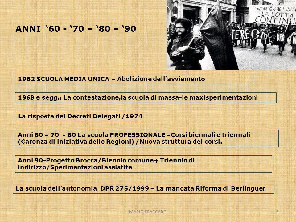 MARIO FRACCARO2 2 ANNI 60 - 70 – 80 – 90 1962 SCUOLA MEDIA UNICA – Abolizione dellavviamento Anni 60 – 70 - 80 La scuola PROFESSIONALE –Corsi biennali