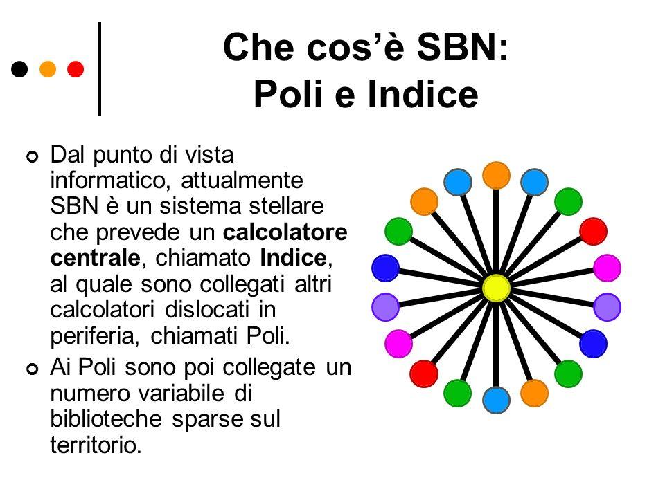 Che cosè SBN: Poli e Indice Dal punto di vista informatico, attualmente SBN è un sistema stellare che prevede un calcolatore centrale, chiamato Indice