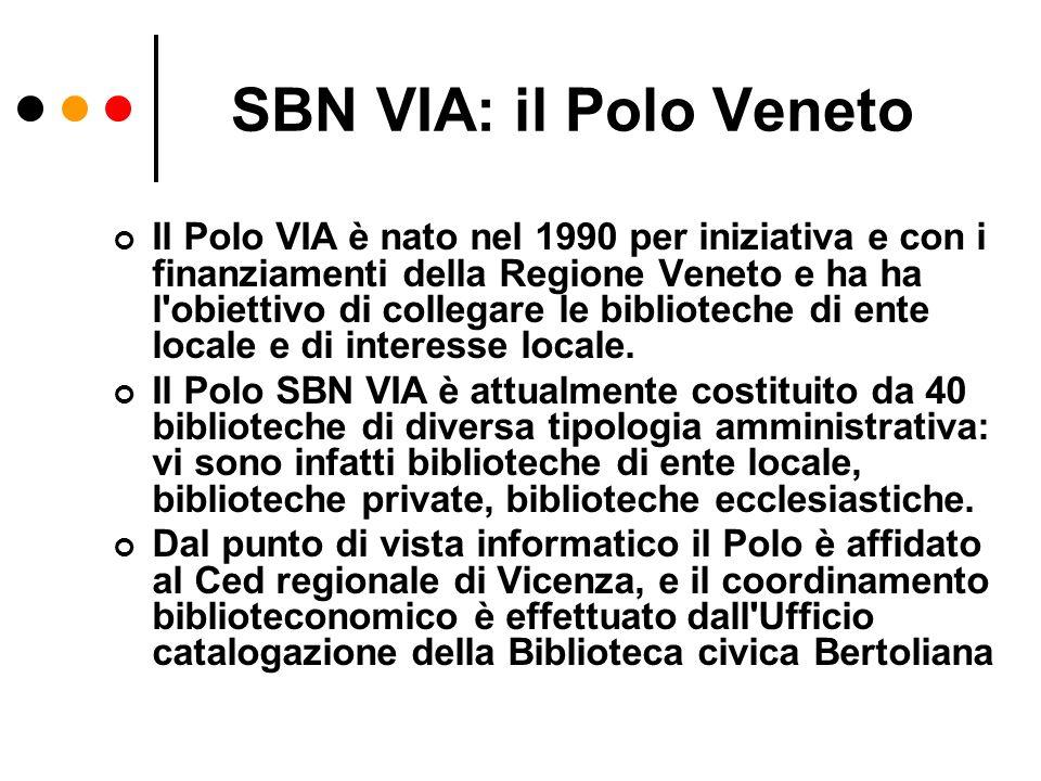 SBN VIA: il Polo Veneto Il Polo VIA è nato nel 1990 per iniziativa e con i finanziamenti della Regione Veneto e ha ha l'obiettivo di collegare le bibl
