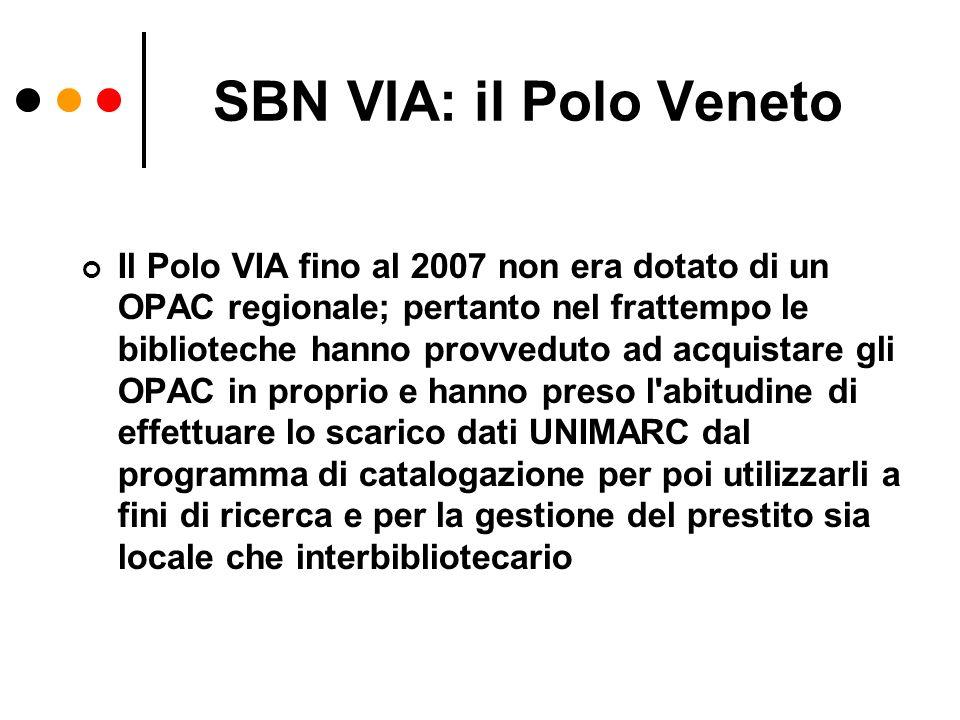 SBN VIA: il Polo Veneto Il Polo VIA fino al 2007 non era dotato di un OPAC regionale; pertanto nel frattempo le biblioteche hanno provveduto ad acquis