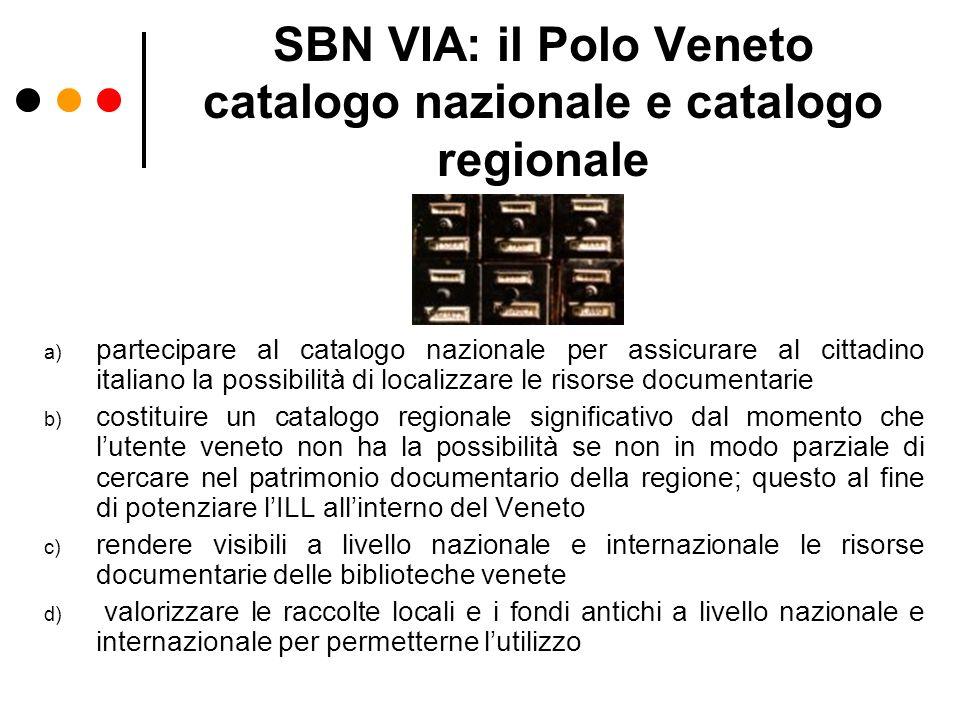 SBN VIA: il Polo Veneto catalogo nazionale e catalogo regionale a) partecipare al catalogo nazionale per assicurare al cittadino italiano la possibili