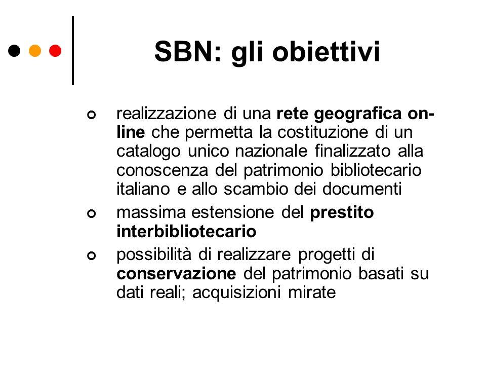 Che cosè SBN: lOPAC SBN ON LINE Nel 2000 è stata realizzata la versione dellOPAC SBN denominata SBN On Line che permette contemporaneamente la ricerca sul catalogo collettivo SBN e su altri cataloghi di biblioteche italiane e straniere che utilizzano lo standard Z39.50, la ricerca integrata su basi dati non solo bibliografiche, ma anche di archivi e musei e la richiesta in linea del prestito e delle riproduzioni delle opere selezionate alle biblioteche inserite nel sistema di prestito interbibliotecario ILL SBN.SBN On Line