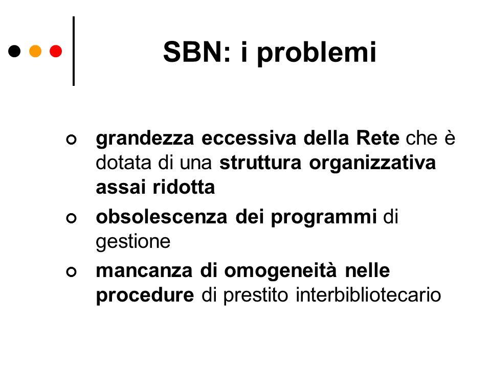 SBN: i problemi grandezza eccessiva della Rete che è dotata di una struttura organizzativa assai ridotta obsolescenza dei programmi di gestione mancan