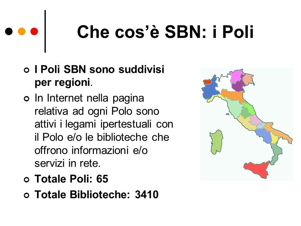Che cosè SBN: i Poli I Poli SBN sono suddivisi per regioni. In Internet nella pagina relativa ad ogni Polo sono attivi i legami ipertestuali con il Po