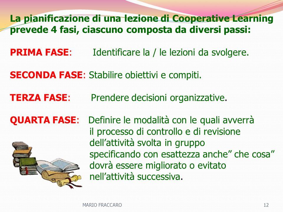 La pianificazione di una lezione di Cooperative Learning prevede 4 fasi, ciascuno composta da diversi passi: PRIMA FASE: Identificare la / le lezioni