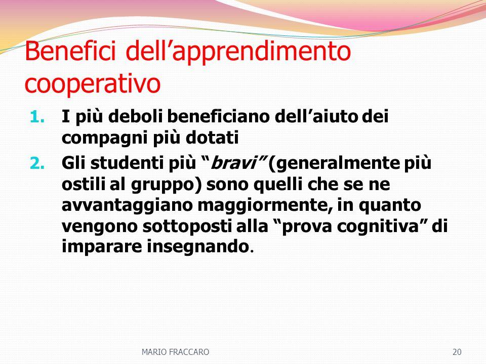 Benefici dellapprendimento cooperativo 1. I più deboli beneficiano dellaiuto dei compagni più dotati 2. Gli studenti più bravi (generalmente più ostil