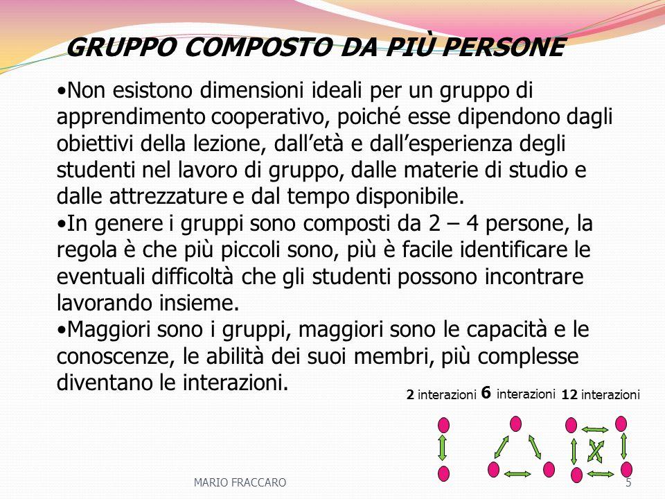 Non esistono dimensioni ideali per un gruppo di apprendimento cooperativo, poiché esse dipendono dagli obiettivi della lezione, dalletà e dallesperien
