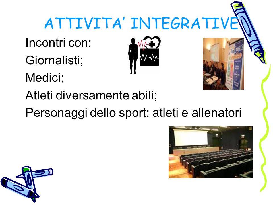 ATTIVITA INTEGRATIVE Incontri con: Giornalisti; Medici; Atleti diversamente abili; Personaggi dello sport: atleti e allenatori