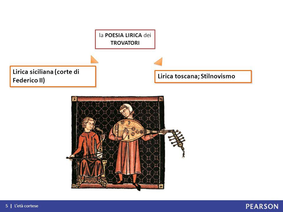 5 | Letà cortese la POESIA LIRICA dei TROVATORI Lirica siciliana (corte di Federico II) Lirica toscana; Stilnovismo