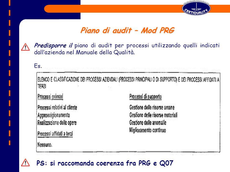 Piano di audit – Mod PRG Predisporre il piano di audit per processi utilizzando quelli indicati dallazienda nel Manuale della Qualità.